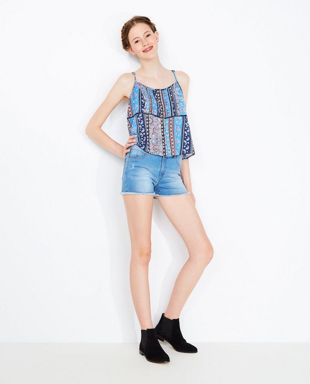 Short en jeans bleu clair - avec des effilochures - Groggy